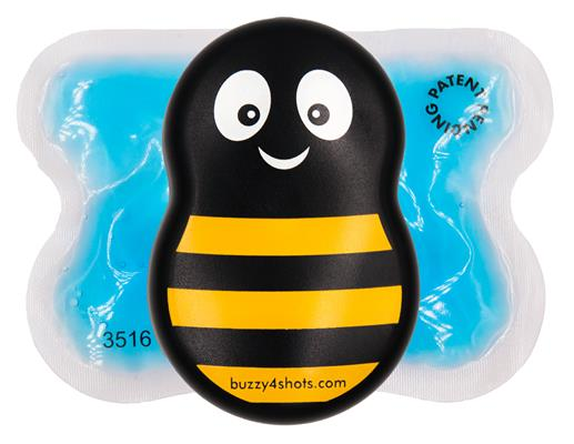 Buzzy has a vibrating base and cold wings