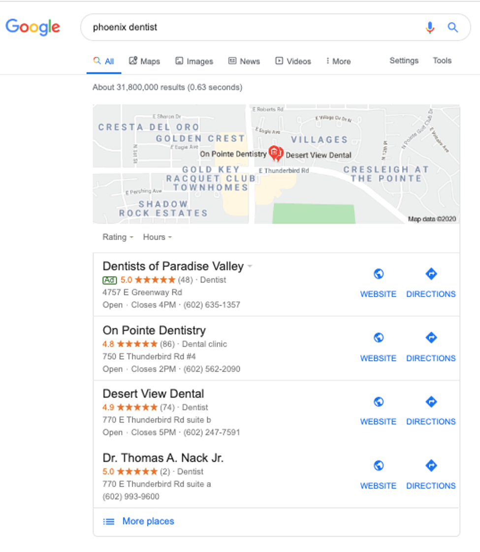 Screenshot of Google search for Phoenix dentist