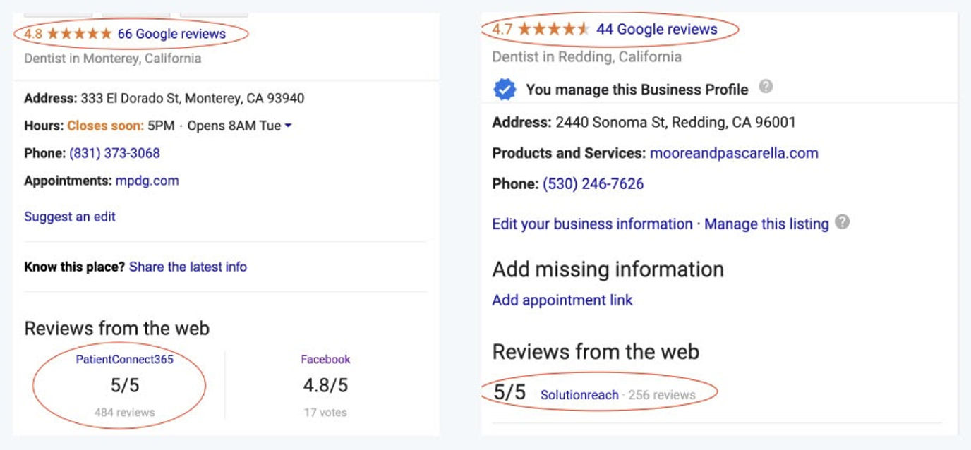 Screenshot showing two companies and their reviews via Google