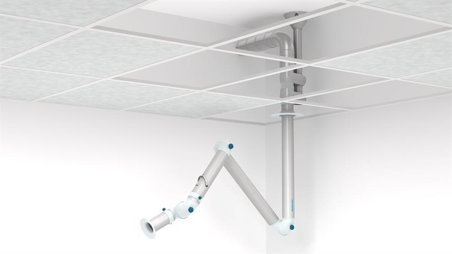 An aerosol extractor arm with a semitransparent false ceiling